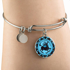 Sagittarius Blue Zodiac Bangle Bracelet