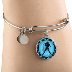 Aquarius Blue Zodiac Bangle Bracelet