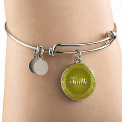 Truth Circle Style Gold and Silver Bangle Bracelet