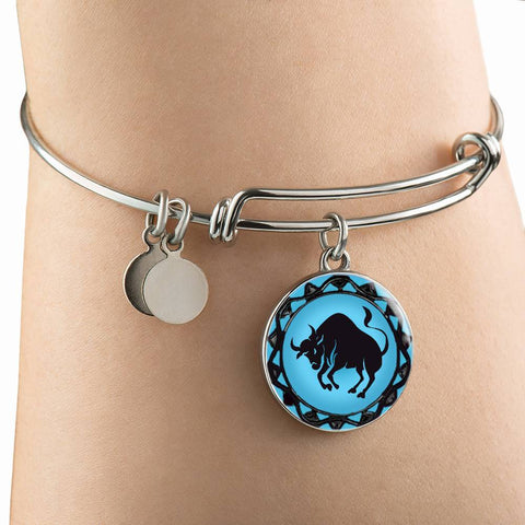 Taurus Blue Zodiac Bangle Bracelet