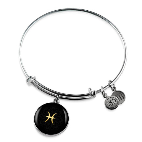 Gold on Black Pisces Zodiac Astrology Bangle Bracelet - Lyghtt