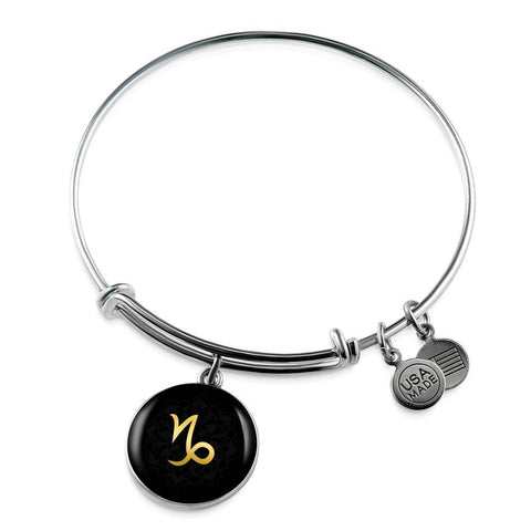 Gold on Black Capricorn Zodiac Astrology Bangle Bracelet - Lyghtt