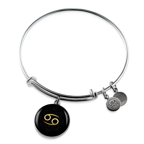 Gold on Black Cancer Zodiac Astrology Bangle Bracelet - Lyghtt