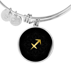 Gold on Black Sagitarius Zodiac Astrology Bangle Bracelet - Lyghtt