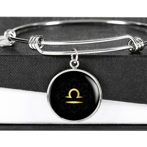 Gold on Black Libra Zodiac Astrology Bangle Bracelet - Lyghtt