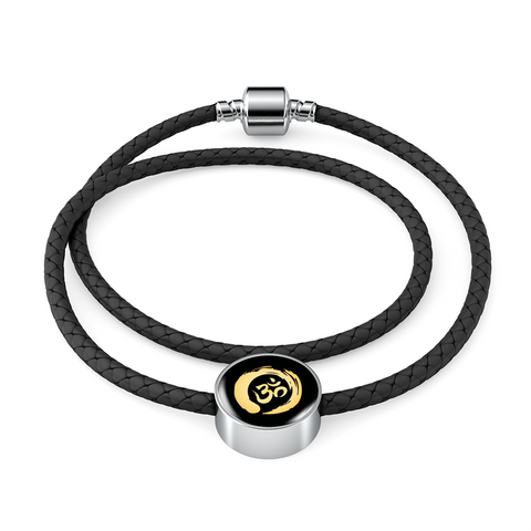Golden Simple Om Symbol Woven Double-Braided Real-Leather Charm Bracelet - Lyghtt