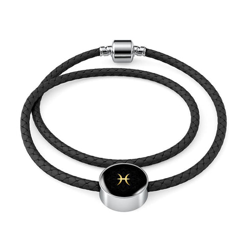 Gold on Black Pisces Zodiac Astrology Charm Leather Bracelet - Lyghtt
