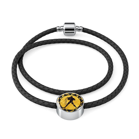 Aquarius Gold Zodiac Leather Bracelet - Lyghtt