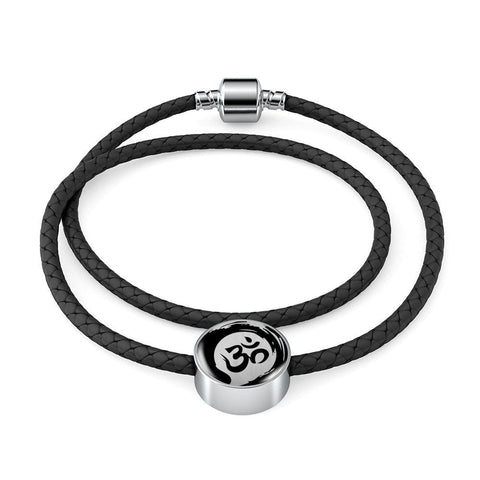 Om Yoga Symbol Double Braided Leather Charm Bracelet - Lyghtt