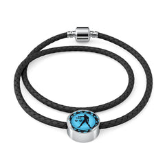 Libra Blue Zodiac Leather Bracelet - Lyghtt