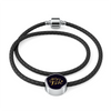 Image of All You Need Is Love Leather Braided Bracelet with Circle Charm - Lyghtt