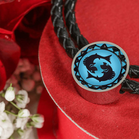 Pisces Blue Zodiac Leather Bracelet