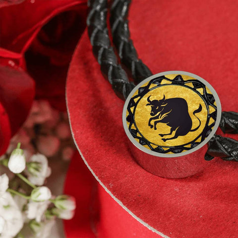 Taurus Gold Zodiac Leather Bracelet