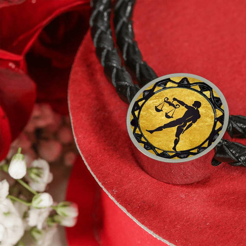 Libra Gold Zodiac Leather Bracelet - Lyghtt