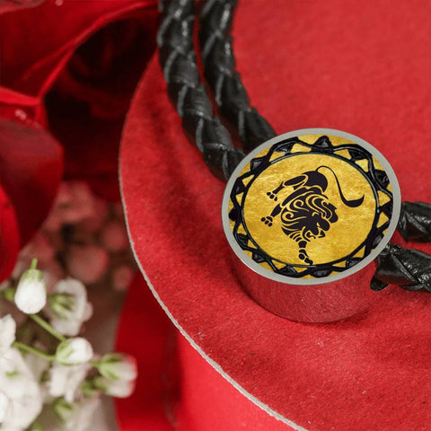 Leo Gold Zodiac Leather Bracelet - Lyghtt