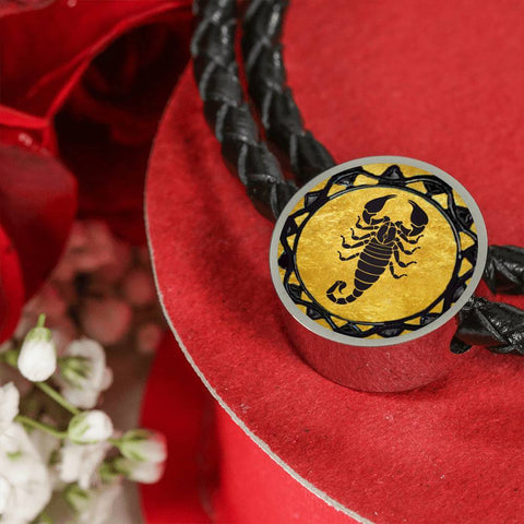 Scorpio Gold Zodiac Leather Bracelet