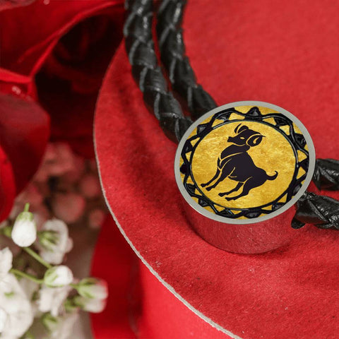 Aries Gold Zodiac Leather Bracelet - Lyghtt