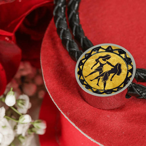 Gemini Gold Zodiac Leather Bracelet - Lyghtt