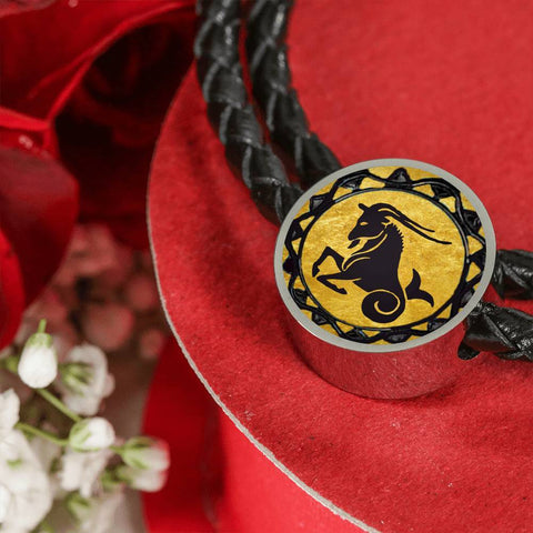 Capricorn Gold Zodiac Leather Bracelet - Lyghtt