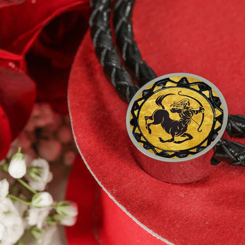Sagittarius Gold Zodiac Leather Bracelet
