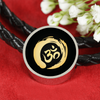 Image of Golden Simple Om Symbol Woven Double-Braided Real-Leather Charm Bracelet - Lyghtt
