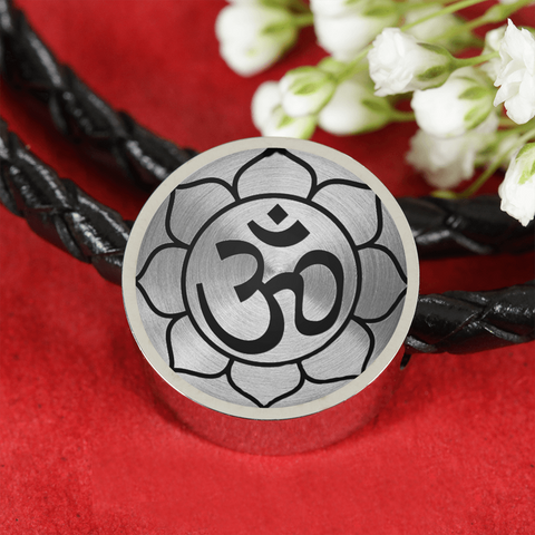Om Lotus Flower Double-Braided Leather Charm Bracelet with Engraved Personalization - Lyghtt