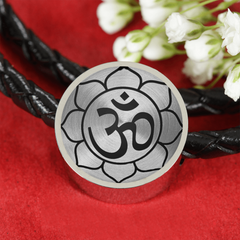 Om Lotus Flower Double-Braided Leather Charm Bracelet with Engraved Personalization