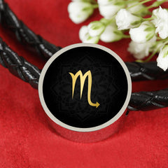 Gold on Black Scorpio Zodiac Astrology Charm Leather Bracelet