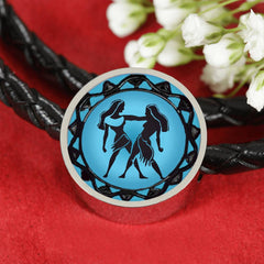 Gemini Blue Zodiac Leather Bracelet