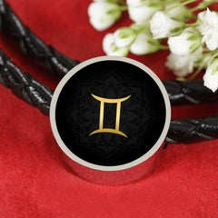 Gold on Black Gemini Zodiac Astrology Charm Leather Bracelet