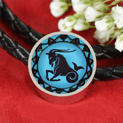 Capricorn Blue Zodiac Leather Bracelet