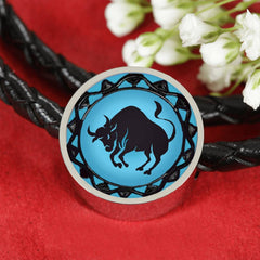 Taurus Blue Zodiac Leather Bracelet
