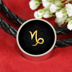 Gold on Black Capricorn Zodiac Astrology Charm Leather Bracelet