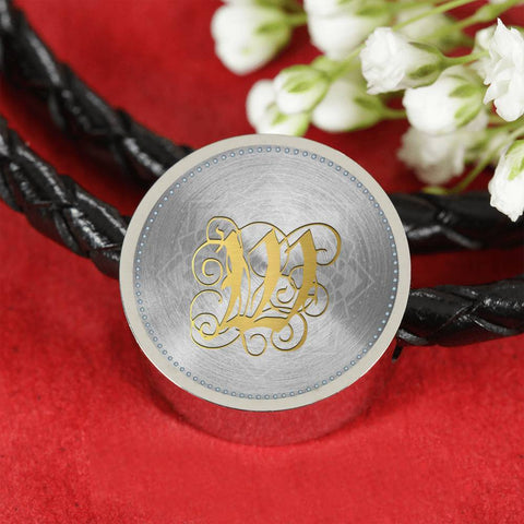 Round Charm Leather Bracelet with Gold W Initial, Personalized Monogram & Name