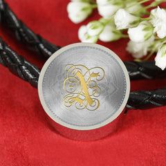 Round Charm Leather Bracelet with Gold X Initial, Personalized Monogram & Name