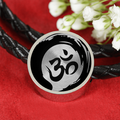 Om Yoga Symbol Double Braided Leather Charm Bracelet