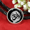 Image of Om Yoga Symbol Double Braided Leather Charm Bracelet - Lyghtt