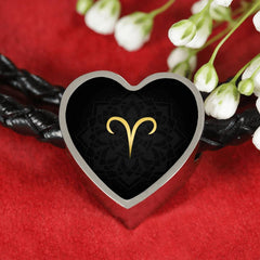 Gold on Black Aries Zodiac Astrology Heart Charm Leather Bracelet