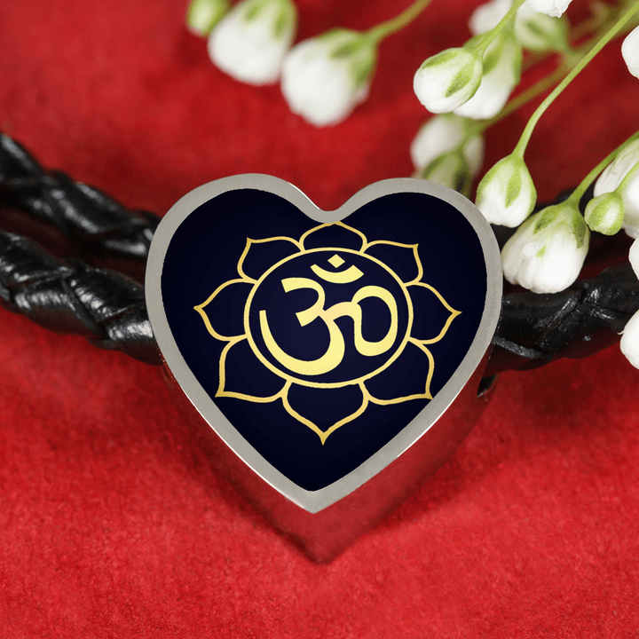 Golden Om Lotus Flower Woven Double Braided Real Leather Heart Charm