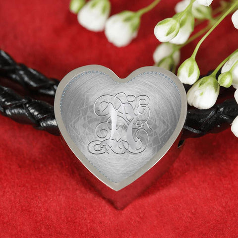 Heart Charm Leather Bracelet with Silver N Initial, Personalized, Monogram & Name - Lyghtt