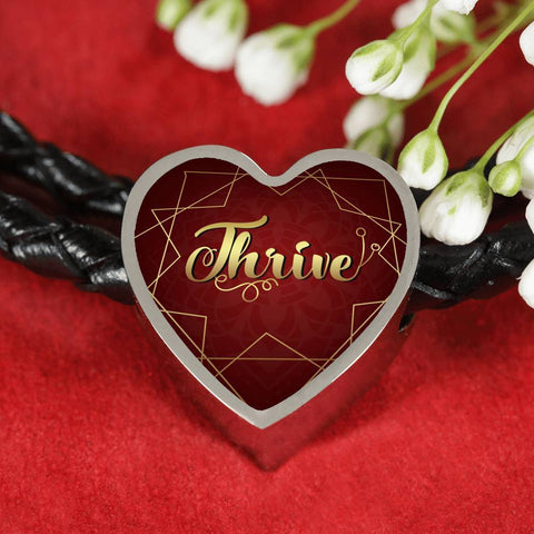 thrive heart style leather bracelet, omfinite