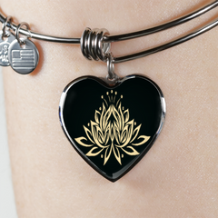 Golden Lotus Flower Heart Bangle Bracelet