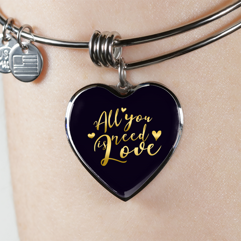 All You Need Is Love Heart Bangle Bracelet - Lyghtt