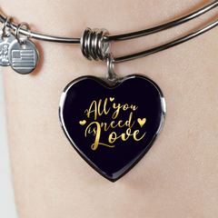 All You Need Is Love Heart Bangle Bracelet