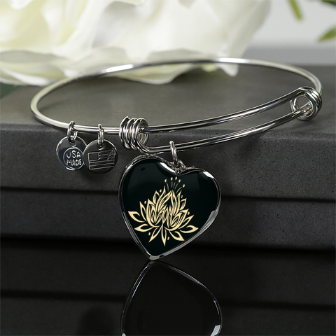 Golden Lotus Flower Heart Bangle Bracelet - Lyghtt