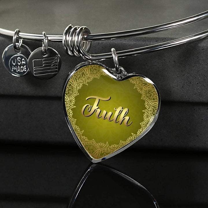 trust heart style silver bangle bracelet , omfinite
