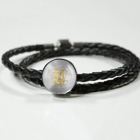 Round Charm Leather Bracelet with Gold U Initial, Personalized Monogram & Name