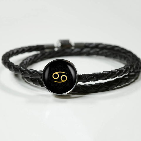 Gold on Black Cancer Zodiac Astrology Charm Leather Bracelet - Lyghtt