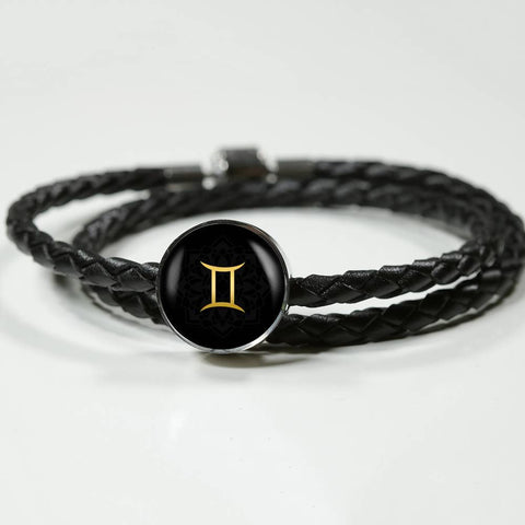 Gold on Black Gemini Zodiac Astrology Charm Leather Bracelet - Lyghtt