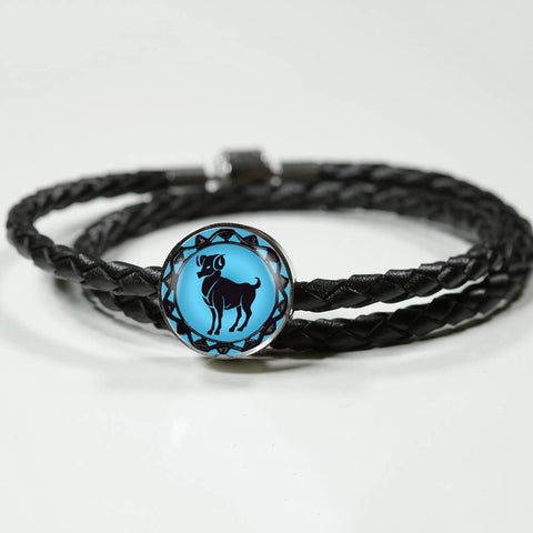 Aries Blue Zodiac Leather Bracelet - Lyghtt